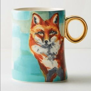 Anthropologie winter fauna Fox mug